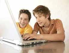 friends together on computer