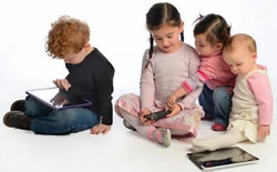 young kids using mobile devices, smartphones