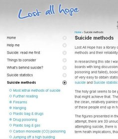 lost all hope suicide method website