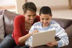 Mom talks to son about online safety.