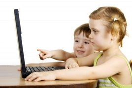 young kids on the computer